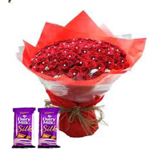 100 Red Roses Bunch Red paper packing + 2 sillk