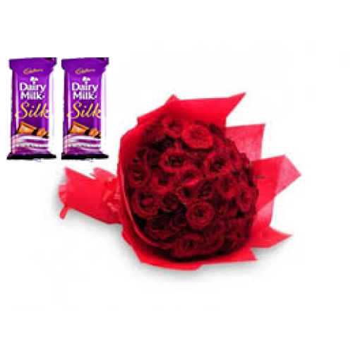 20 Red Roses Bunch Red paper packing + 2 silk