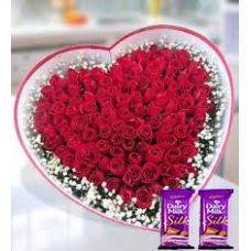 25 Red Roses Bunch Red paper packing + 2 sillk