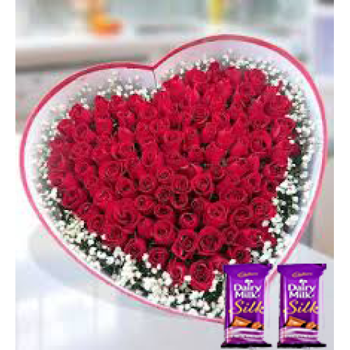 25 Red Roses in heart shape flower arrangement + 2 sillk