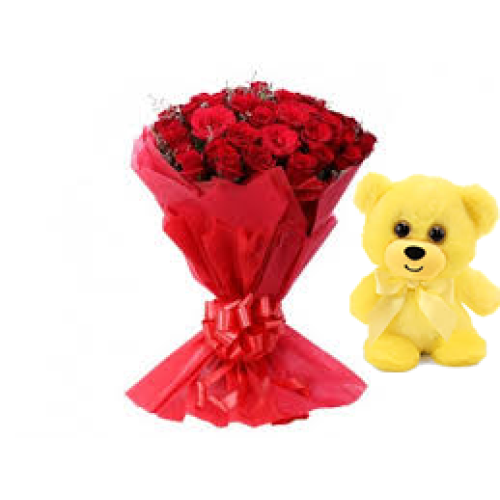 50 Red Roses bunch with Red paper packing with 6 inch teddy