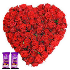 50 Red Roses in heart shape flower arrangement + 2 sillk