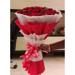 20 Red Roses Hand Bunch with paper packing
