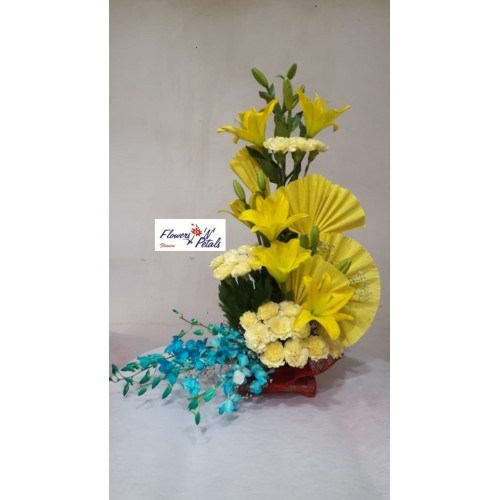 3 Asiaitic Lily ,20 Yellow Carnation, 6 Color Orchid