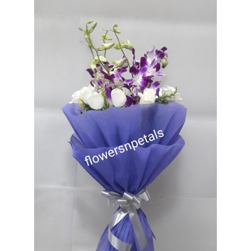 10 white Roses & 4 Purple Orchid with Purple Paper Packing