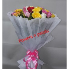 24 Multicolor Roses Hand Bunch With  White Paper Packing