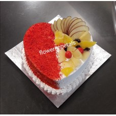 1 kg. Heart shape red velvet fresh fruit cake