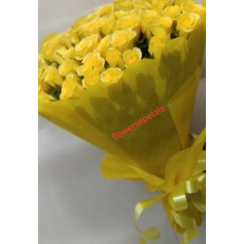 50 Yellow Roses Bunch With 2 layer Yellow Paper Packing