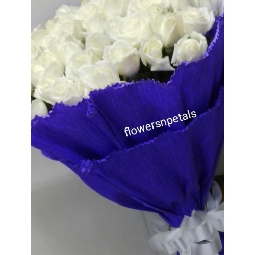 50 White Roses Bunch With 2 layer  Blue Paper Packing