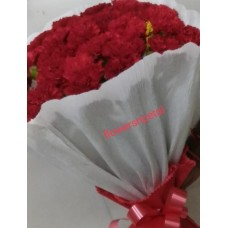 50 Red Carnation Bunch With 2 layer White Paper Packing