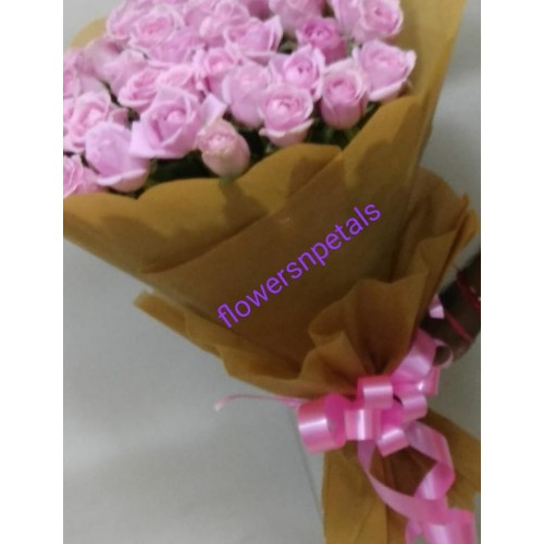 50 Pink Bunch With 2 Layer Brown Paper Packaging