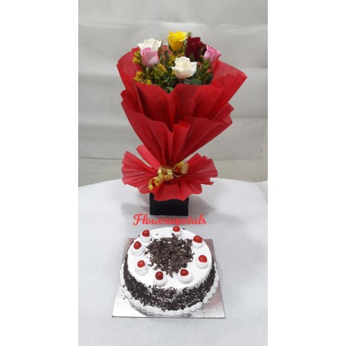 10 Mix Roses Bunch With Red Paper Packing  + 1/2 Kg. black Floest cake