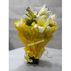 3 white Oriental lily 15 yellow Roses Bunch With Yellow Paper Packing