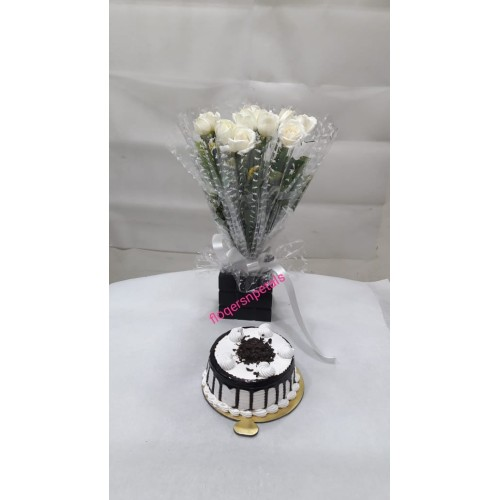 10 White Roses Bunch + 1/2 Kg. black Floest cake