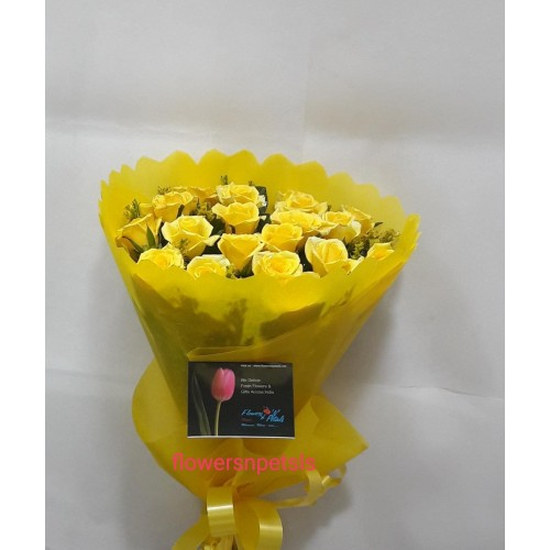 20 Yellow Roses Bunch with Yellow Paper Packing