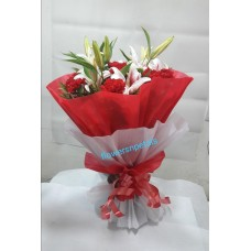 3 Pink Oriental lily Hand Bunch With Red & White Paper Packing