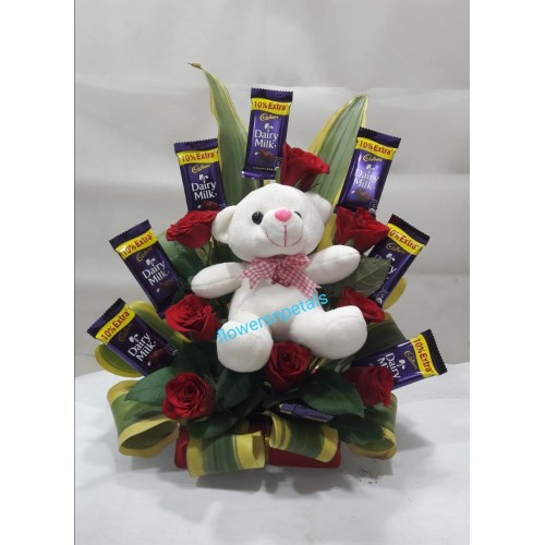 "8 red roses +8 Dairy Milk with 6"" Teddy In one sided Arrangement"