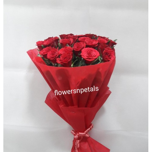 20 Red Roses Bunch with Red Paper Packing