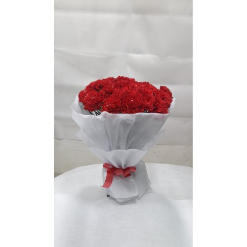 20 red Carnation Bunch with white Paper Packing