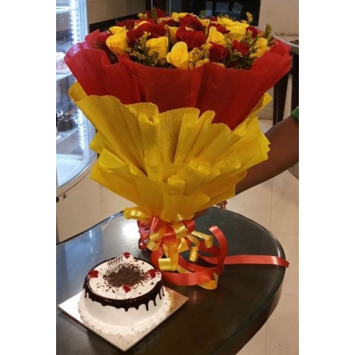 20 Red And Yellow Roses Bunch with Red And Yellow Paper Packing + 1/2 KG. Black Forest Cake