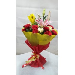 1 Pink and 1 Yellow  Oriental lily 10 red Roses 5 white carnation Hand Bunch With Red & Yellow Paper Packing