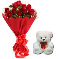 10 Red Roses bunch with Red paper packing with 6 inch teddy