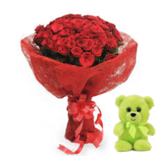 20 Red Roses bunch with Red paper packing with 6 inch teddy