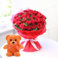 25 Red Roses bunch with Red paper packing with 6 inch teddy