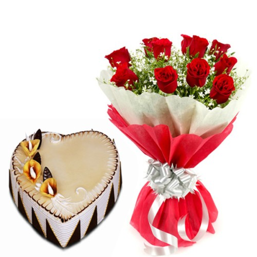 10 red Roses Bunch Red paper packing with 1/2 kg. Heart Shape butterscotch cake