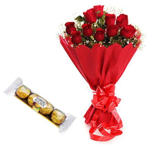 10 Red Roses Bunch with Red Pepar Packing with 4 Ferrero Rocher Chocolates