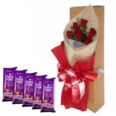 6 Red Roses Bunch with Red Paper Packing + 5 dairy Milk