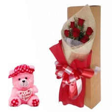 6 Red Roses bunch with Red paper packing with 6 inch teddy