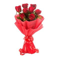 8 Red Roses Bunch with Red Paper Packing