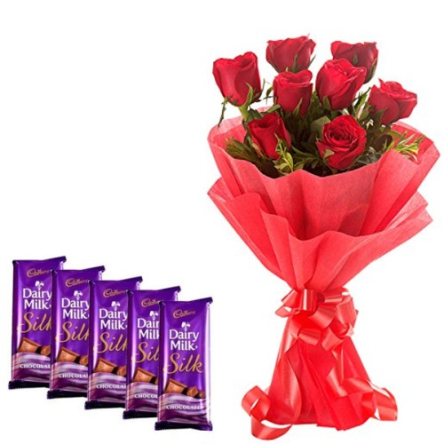 8 Red Roses Bunch with Red Paper Packing +5 dairy Milk