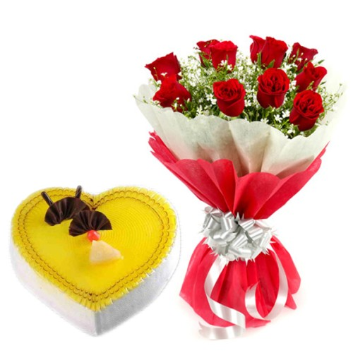 10 red Roses Bunch Red paper packing with 1/2 kg. Heart Shape Pineapple cake