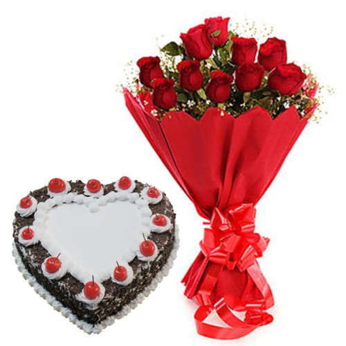 10 red Roses Bunch Red paper packing with 1/2 kg. Heart Shape Black Forestcake