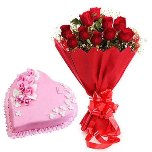 10 red Roses Bunch Red paper packing with 1/2 kg. Heart Shape Strawberry cake