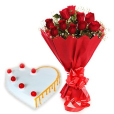 10 red Roses Bunch Red paper packing with 1/2 kg. Heart Shape Vanilla cake