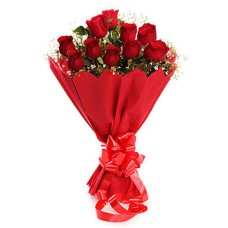10 Red Roses Bunch with Red Paper Packing