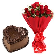 10 red Roses Bunch with Red paper packing  + 1/2 kg. Heart Shape Chocolate cake