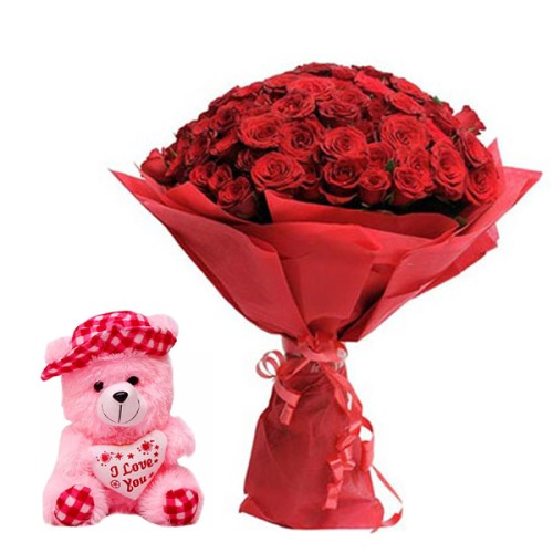 100 Red Roses bunch with Red paper packing with 6 inch teddy
