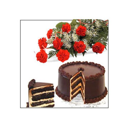 1/2 kg Chocolate Cake + 10 Carnations