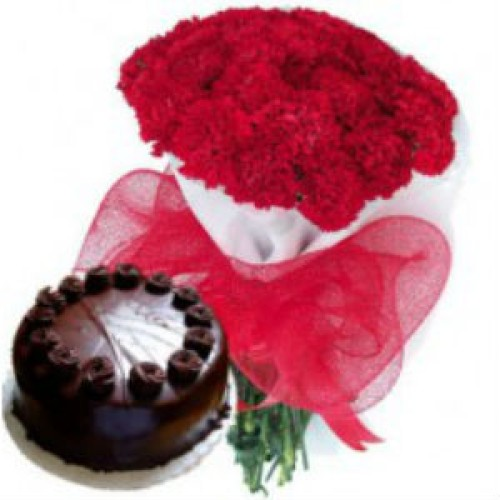 1 kg Chocolate Cake + 20 Roses Bunch