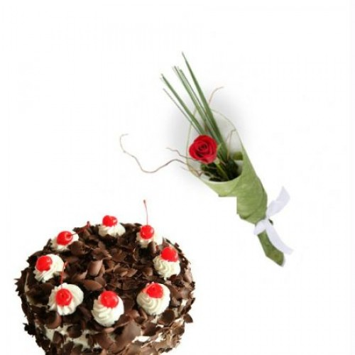 1 kg  Black Forest + 1 Red Rose