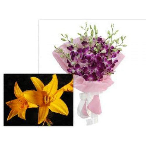 Lilium With Orchids bunch