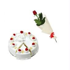1/2 kg  Pineapple Cake + 1 Rose