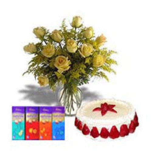 1 kg Strawberry + 12 Roses + 4ps Silk Chocolate