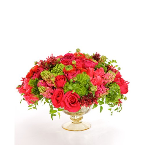 20 Carnations  With Roses in a round glass vase