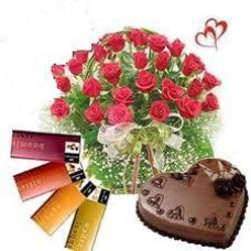 Red Roses Bunch + Chocolates + Cake