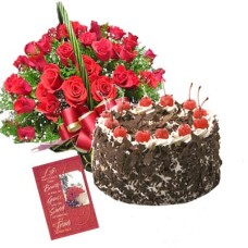Fresh Black Forest Cake with 20 Rose Bunch & Greeting Card